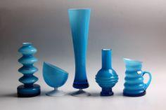 Vintage German Blue Glass Vase (4) - Friedrich Glass 70s