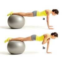 Plank with Shoulder Taps - Get into a pushup position with your hands shoulder-width apart on the floor and your shins resting on top of the ball (a). Keeping your hips square to the floor, lift your right hand and tap your left shoulder (b). Return to start and repeat with the other arm. Continue alternating for a total of 26 reps.
