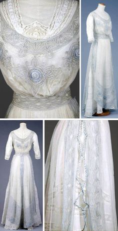Summer dress, ca. 1905-10. Cotton with tulle, blue braidwork, crochet and lace on batiste sleeves. Bodice with mono bosom, high boned collar, and 3/4 sleeves. Closes with hooks & eyes in back. Trumpet-shaped skirt. Blue braidwork net piece. Goldstein Museum of Design, Univ. of Minnesota