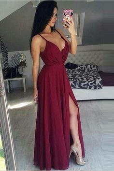 Simple V Neck Saghetti Straps Burgundy Split Prom Dresses Evening Gowns Party Dress LD1094