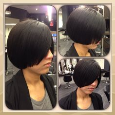 Short layered in the front bob.