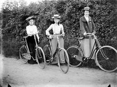 The Miss Bromleys, Byfield, Northamptonshire, 1904.  The three Miss Bromleys with their bicycles at the side of the road. By the end of the Victorian period women's clothing was becoming less bulky. This meant that they could take up new leisure activities such as cycling. It also became more acceptable for middle class women to travel outside the home alone or with other women.