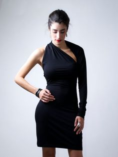 find one sleeve dress  | Color Select a color Black Olive Green Off white - Out of stock Mocha ... love this