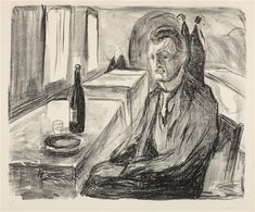 Artwork by Edvard Munch, Self-Portrait with a Bottle of Wine, Made of Lithograph on cream wove paper