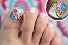 New fails art tutorial link Ideas Mani Pedi, Manicure And Pedicure, Hair And Nails, My Nails, Mandala Nails, Cute Pedicures, Finger, Feet Nails, Toenails