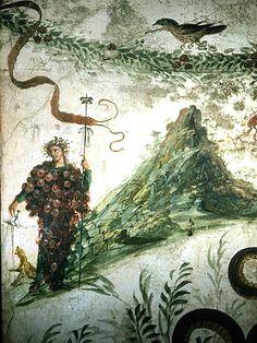 Louis Mazzatenta - Ancient Fresco of Bacchus, Roman God of Wine, and Vesuvius - Fine Art Print World Mythology, Chinese Mythology, Greek And Roman Mythology, Greek Gods And Goddesses, History Of Wine, Pagan Gods, Bacchus, In Vino Veritas, Dionysus