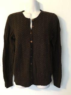 Eddie Bauer Cashmere Angora Blend Brown Cardigan size M Women Cable Knit Sweater #EddieBauer #Cardigan