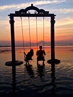 sunset swings ocean Gili Trawangan Lombok Indonesia Hotel Ombak Sunset