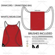 Drawcord Bag Fashion Flat Template