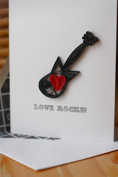 Love Rocks Quilled Electric Guitar Card