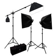 3000 Watt Photo Studio Lighting Softbox Video Light Kit Boom Set & Carry Case
