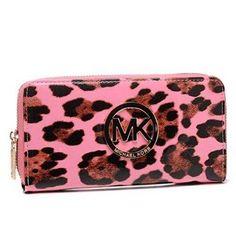 Michael Kors Leopard Continental Large Pink Wallets - $39.99