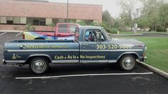 A really classic Ford Truck (1971 to be exact) with some eye-catching lettering.