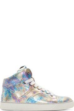 Lanvin  Purple Metallic High-Top Sneakers High Top Sneakers 41863cffebc
