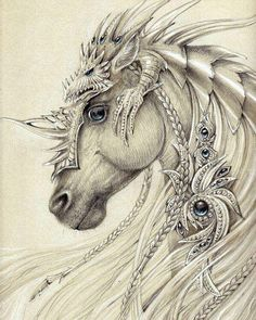 Elven Horse ~by Anwaraidd Nahar The dragon on top is awesome armor! Fantasy Creatures, Mythical Creatures, Fantasy Kunst, Fantasy Art, Unicorn Fantasy, Unicorn Horse, Unicorn Art, Arte Fashion, Drawn Art