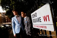 The boys looking gorgeous for photos in Soho Square after their Civil Partnership (Gay Wedding) in London!  #Gay #Wedding #Love #Civil #Partnership  #GayWedding #CivilPartnership #London #SohoSquare #EqualMarriage #SameSex