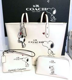 COACH X Peanuts SNOOPY Tote Bag Cosmetic Case Wristlet & Key Chain 4pc Box Set! #Coach #SatchelCrossBodyTotesShoppers