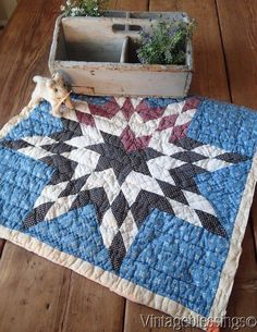 "www.Vintageblessings.com Great Antique 1920 Cutter QUILT Piece C 22"" x 20 1/2"" Table or Crib"