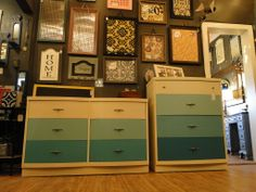 Ombre dresser and chest of drawers aqua teal turquoise white. Modern Vintage.