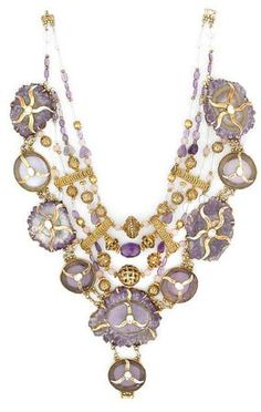 Tony Duquette necklace. Amethyst stalactite, zircon, rose quartz, clear quartz, glass and vermeil.