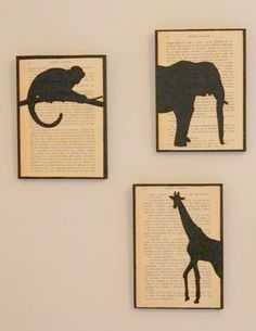 These would be so easy to make - piece of wood painted black, glue old book page on top, then trace outline of animals (or anything really) and paint.