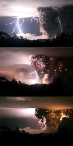 This image by UPI photographer Carlos Gutierrez shows a volcano erupting during storms in the middle of the night on May 3, 2008 in Chaiten, Chile. The Chaiten Volcano, located some 800 miles south of the capital Santiago, was considered inactive since it had not erupted for hundreds of years.