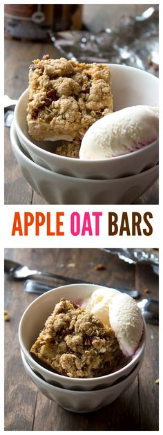 Apple Oat Bars with a sweet and nutty apple filling layered between a delicious oat crust. Apple Oat Bars with a sweet and nutty apple filling layered between a delicious oat crust. Apple Recipes, Fall Recipes, Sweet Recipes, Cookie Recipes, Dessert Recipes, Breakfast Recipes, Vegan Dishes, Vegan Desserts, Just Desserts