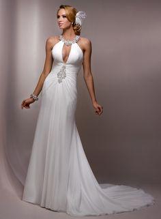 Gaine robe de mariage en mousseline de soie