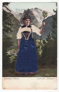 SWITZERLAND~BERNER TRACHT~WOMAN BERN COSTUME~BAS RELIEF EMBOSSED c1920s postcard