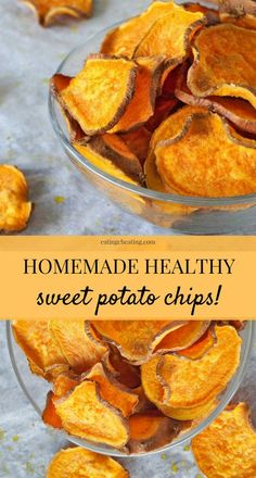 50 minutes · Vegan Gluten free Paleo · Makes 2 · Homemade sweet potato chips recipe! Learn how to make sweet potato chips! Using just salt, pepper and olive oil you get healthy homemade sweet potato chips to snack on! Check out the recipe… Homemade Sweet Potato Chips, Dehydrated Sweet Potato Chips Recipe, Baked Sweet Potato Chips, Sweet Potato Crackers, Sweet Potato Recipes Healthy, Homemade Chips Ideas, Sweet Potato Snack, Baked Apple Chips, Healthy Foods