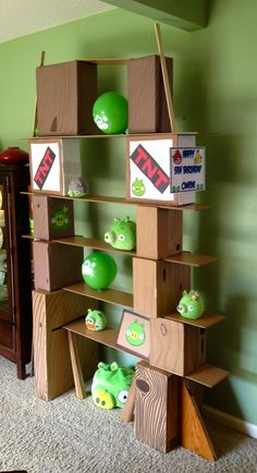 boxes and wood-look contact paper! 5th Birthday Boys, Bird Birthday Parties, Star Wars Birthday, Birthday Party Games, Birthday Ideas, Cumpleaños Angry Birds, Festa Angry Birds, Theme Days, Party Rock