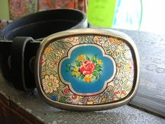 belt buckle made from vintage cookie tin