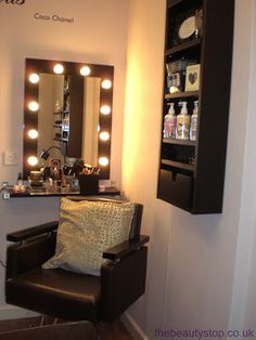 Hollywood mirror and Salon chair  Great for a make up artist