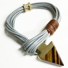 Bracelets By Vila Veloni Grey  And Brown Rope With Cute Arrow