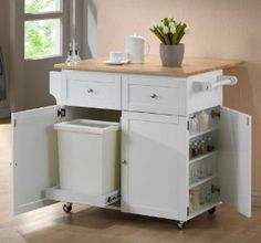 White Rolling Extendable Kitchen Island with Spice Rack by Coaster Home Furnishings Price: $547.85