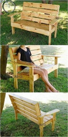 , Most of the bench designs are designed with the use of the wood pallet structural forms into it. In this conceptual idea as well you will view the woo. , Perfect Ideas for Old Wood Pallets Repurposing Diy Garden Furniture, Diy Outdoor Furniture, Diy Pallet Furniture, Diy Pallet Projects, Wood Projects, Woodworking Projects, Pallet Ideas, Furniture Cleaning, Woodworking Vise