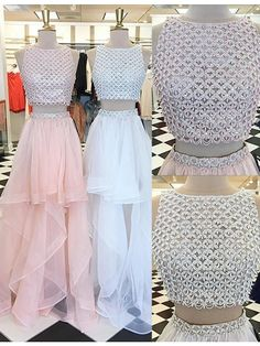 Two Piece Bateau Asymmetrical Pink/White Prom Dress with Beading