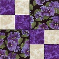 Debbie Beaves Lovely Purple Cream Black Floral Pansy Fabric Quilt Block Kit Cut