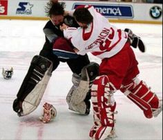 Patrick Roy and Mike Vernon go at it.