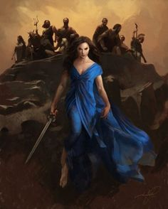 """denvertakespics: """"So Zeus left us a weapon, one powerful enough to kill a god."""" My fan art with the awesome Diana wearing her blue dress, with the Olympian gods in the background (after Houston Sharp's concept art, """"atop Olympus sit""""). Gal Gadot, Olympians, Dc Universe, Concept Art, Wonder Woman, Fan Art, God, Superhero, Awesome"""