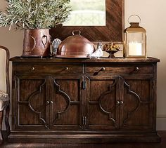 Shop lorraine buffet from Pottery Barn. Our furniture, home decor and accessories collections feature lorraine buffet in quality materials and classic styles. Deco Buffet, Dining Buffet, Mirror Buffet, Buffet Server, Sofa Table Decor, Table Decorations, Pottery Barn, Light Wooden Floor, Kitchen Furniture