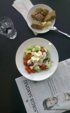 Greek salad for lunch  www.52weeksofdeliciousness.com