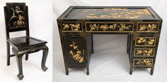 Japanese desk and chair, black lacquer with gold embellishment. Provenance: from a South Ocean Blvd, Palm Beach estate.