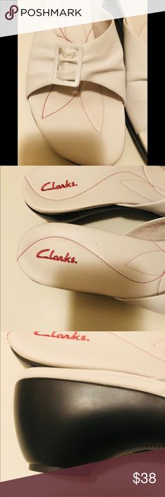 Clark white soft sandals Clark high quality sandals ! 2.5 inches tick heels . Very comfy and chic . Brand new never worn . Clark Shoes Sandals