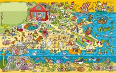 Lotte Wagner - freelance illustrator, specialised in wimmelbild, spotillustration, search images, activity books. Wheres Wally, Boat Art, Puzzle Art, Hidden Pictures, Old Fashioned Christmas, Picture Description, Freelance Illustrator, Book Activities, Cartoon Art