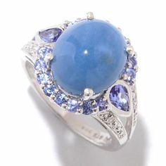 NYC II 12 x 10mm Oregon Blue Opal, Tanzanite & Diamond Ring