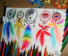 Drawing of different dream catcher designs Dream Catcher Drawing, Dream Catcher Tattoo, Dream Drawing, Social Media Art, Dreamcatchers, Pencil Art, Cute Drawings, Awesome Drawings, Awesome Tattoos
