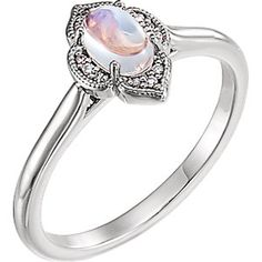 Rainbow Moonstone and Diamond Clover Cabochon Ring  Item #71939