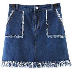 Chicnova Fashion Denim Mini Skirt (€14) ❤ liked on Polyvore featuring skirts, mini skirts, denim skirt, high-waist skirt, short mini skirts, high waisted skirts, zipper skirt and blue high waisted skirt