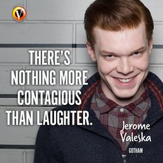 """Jerome Valeska (Cameron Monaghan) in Gotham: """"There's nothing more contagious than laughter."""" #quote #superguide Gotham Quotes, Jerome Gotham, Gotham Tv Series, Fandom Quotes, Jerome Valeska, Cameron Monaghan, Joker And Harley Quinn, Best Tv Shows, Supergirl"""